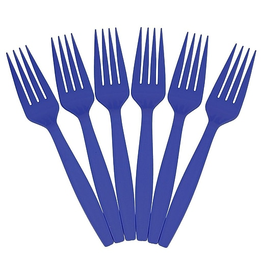 JAM Paper® Big Party Pack of Premium Plastic Forks, Blue, 100 Disposable Forks/Box (297F100bu)