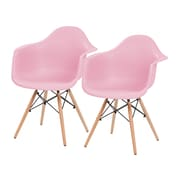 IRIS® Plastic Shell Chair With Arm Rest, 2 Pack, Pink (586721)