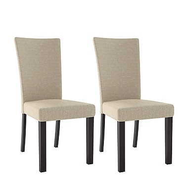 CorLiving Bistro Fabric Dining Chairs, Woven Cream - Set of 2 (DRC-875-C)