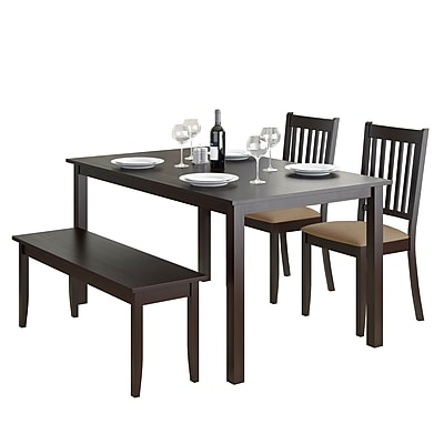 CorLiving Atwood 4pc Dining Set, with Cappuccino Stained Bench and Set of Chairs (DRG-795-Z2)
