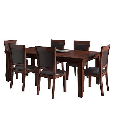 CorLiving 7pc Extendable Dining Set - Warm Brown Wood and Chocolate Bonded Leather (DWG-680-Z2)