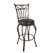 """CorLiving Jericho 26"""" Counter Height Metal Barstool, Glossy Dark Brown Bonded Leather (DJS-923-B)"""