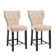 """CorLiving Kings 25"""" Counter Height Barstool, Cream Bonded Leather - Set of 2 (DAD-718-B)"""