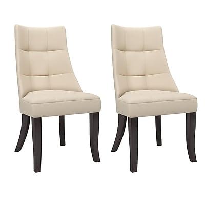 CorLiving Antonio Tufted Fabric Dining Chairs, Cream - set of 2 (DPP-810-C)