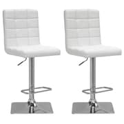 "CorLiving 33"" Adjustable Chrome Barstool, White Bonded Leather - Set of 2 (DPU-914-B)"