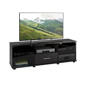 """CorLiving Fernbrook TV Stand for up to 70"""" TVs, Black Faux Wood Grain Finish (TFB-204-B)"""