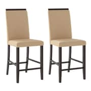"CorLiving Bistro 25"" Counter Height Dining Chairs, Desert Sand Fabric - Set of 2 (DPP-110-C)"