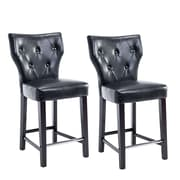 "CorLiving Kings 25"" Counter Height Barstool, Black Bonded Leather - Set of 2 (DAD-708-B)"