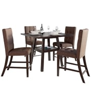 "CorLiving Bistro 5pc 36"" Counter Height Cappuccino Dining Set - Chestnut Bark Brown (DIP-497-Z7)"