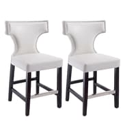 "CorLiving Kings 24"" Counter Height Metal Studded Barstool, White - Set of 2 (DAD-818-B)"