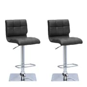 "CorLiving 33"" Adjustable Chrome Barstool, Black Bonded Leather - Set of 2 (DPU-903-B)"