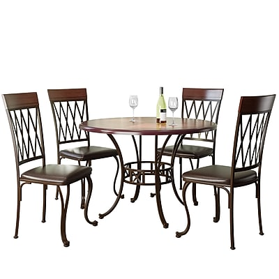 CorLiving Jericho 5pc Metal and Warm Stained Wood Dining Set (DJS-479-Z)