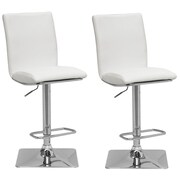 "CorLiving 33"" Adjustable Chrome Barstool, White Bonded Leather - Set of 2 (DPU-915-B)"