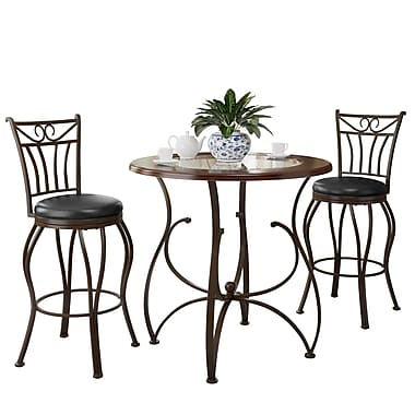 CorLiving Jericho 3pc Counter Height Glossy Brown Barstool and Bistro Table Set (DJS-923-Z2)