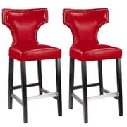 "CorLiving Kings 29"" Bar Height Metal Studded Barstool, Red - Set of 2 (DAD-859-B)"