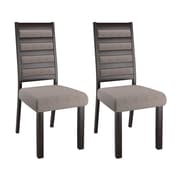 CorLiving Bistro Fabric Ladder Back Dining Chairs, Grey - Set of 2 (DWP-322-C)