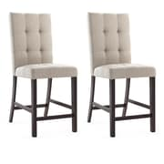 "CorLiving Bistro 25"" Counter Height Dining Chairs, Platinum Sage Fabric - Set of 2 (DWP-590-C)"