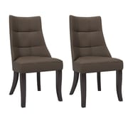 CorLiving Antonio Tufted Fabric Dining Chairs, Brown - Set of 2  (DPP-890-C)