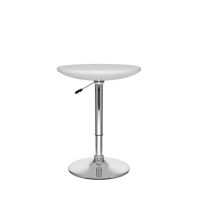 CorLiving Adjustable Height Round Bar Table in Glossy White (DAW-710-T)