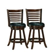 "CorLiving Woodgrove 25"" Counter Height Barstool, Black Bonded Leather - Set of 2 (DWG-994-B)"
