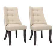 CorLiving Antonio Button Tufted Fabric Dining Chairs, Cream - Set of 2  (DPP-811-C)