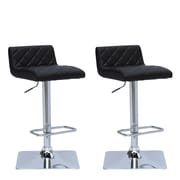 "CorLiving 33"" Adjustable Chrome Barstool, Black Bonded Leather - Set of 2 (DPU-901-B)"