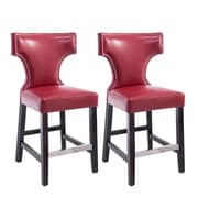 "CorLiving Kings 24"" Counter Height Metal Studded Barstool, Red - Set of 2 (DAD-858-B)"