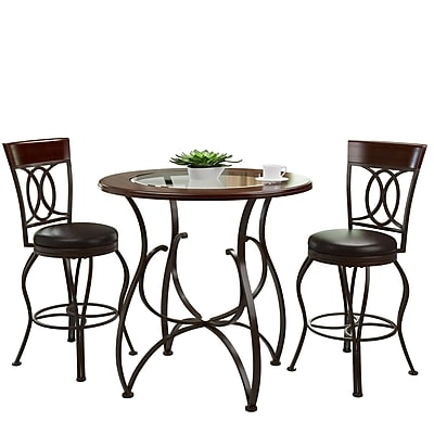 CorLiving Jericho 3pc Counter Height Matte Brown Barstool and Bistro Table Set (DJS-923-Z4)