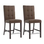 "CorLiving Bistro 25"" Counter Height Dining Chairs, Chestnut Bark Fabric - Set of 2 (DWP-580-C)"