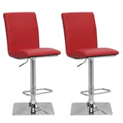 "CorLiving 33"" Adjustable Chrome Barstool, Red Bonded Leather - Set of 2 (DPU-955-B)"