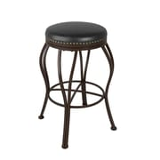 "CorLiving Jericho 30"" Bar Height Metal Barstool, Dark Brown Bonded Leather (DJS-123-B)"