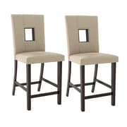 "CorLiving Bistro 25"" Counter Height Dining Chairs, Woven Cream Fabric - Set of 2 (DIP-460-C)"