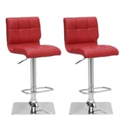 "CorLiving 33"" Adjustable Chrome Barstool, Red Bonded Leather - Set of 2 (DPU-953-B)"