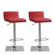 "CorLiving 33"" Adjustable Chrome Barstool, Red Bonded Leather - Set of 2 (DPU-951-B)"