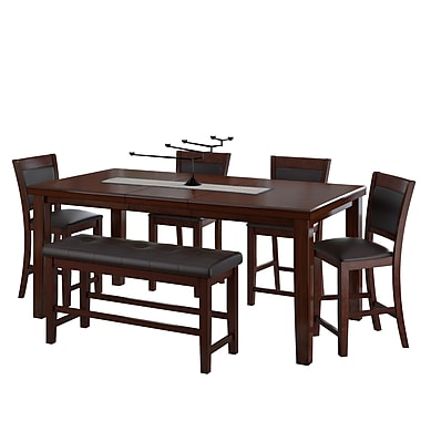 CorLiving 6pc Counter Height Extendable Dining Set Brown Wood and Brown Leather (DWG-880-Z1)