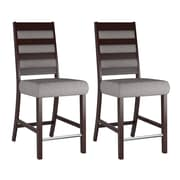 "CorLiving Bistro 26"" Counter Height Dining Chairs, Grey Sand Fabric - Set of 2 (DWP-320-C)"