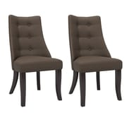 CorLiving Antonio Button Tufted Fabric Dining Chairs, Brown - Set of 2  (DPP-891-C)