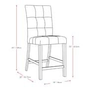 """CorLiving Bistro 25"""" Counter Height Dining Chairs, Platinum Sage Fabric - Set of 2 (DWP-590-C)"""
