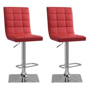 "CorLiving 33"" Adjustable Chrome Barstool, Red Bonded Leather - Set of 2 (DPU-954-B)"