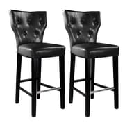 "CorLiving Kings 31"" Bar Height Barstool, Black Bonded Leather - Set of 2 (DAD-709-B)"