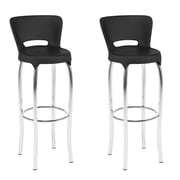 "CorLiving 31"" Bar Height Barstool, Black and Chrome - Set of 2 (DHL-301-B)"