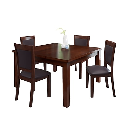 CorLiving 5pc Extendable Dining Set - Warm Brown Wood and Chocolate Bonded Leather (DWG-280-Z1)