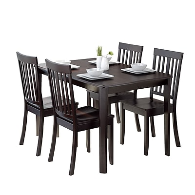 CorLiving Atwood 5pc Dining Set, with Cappuccino Stained Chairs (DRG-695-Z5)