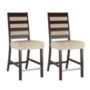 "CorLiving Bistro 26"" Counter Height Dining Chairs, Woven Cream Fabric - Set of 2 (DWP-310-C)"
