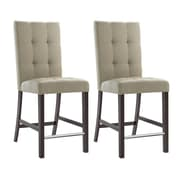 "CorLiving Bistro 25"" Counter Height Dining Chairs, Platinum Beige Fabric - Set of 2 (DWP-570-C)"