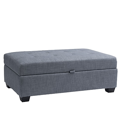 CorLiving Antonio Fabric Storage Ottoman, Blue Grey (LAD-174-O)