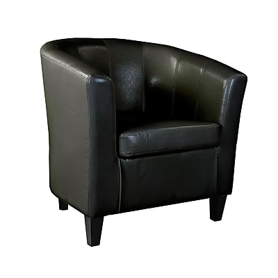 CorLiving Antonio Bonded Leather Tub Chair with Sloping Arms, Black (LAD-705-C)