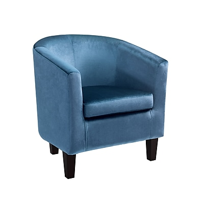 CorLiving Antonio Velvet Tub Chair, Blue (LAD-728-C)