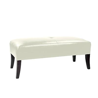 CorLiving Antonio Bonded Leather Bench, White (LAD-615-O)
