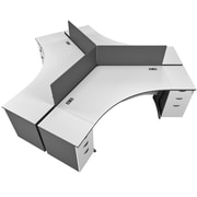 CorLiving Workspace 12pc Tri-pod Desk Set, Two-Tone Grey (WHP-101-Z)